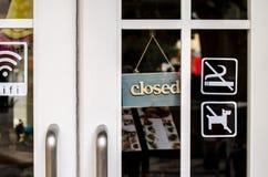 Closed sign board hang and no smoking on the door Royalty Free Stock Image