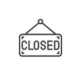 Closed sign board line icon, outline vector sign Stock Image