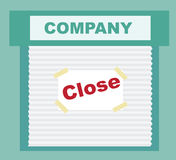Closed Sign - business that has gone bankrupt. The cartoon Business idea concept Stock Photos