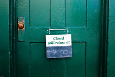 Closed sign on a door Royalty Free Stock Image
