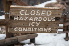 Closed Sign -- Hazardous Icy Conditions Stock Photos