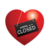 Closed sign. Illustration of heart with closed sign Royalty Free Stock Photos