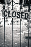 Closed sign on a metal bars Stock Image