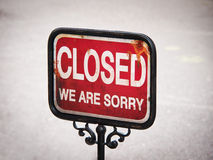 Closed sign (1). Old sign, words closed we are sorry stock photos