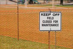 Closed Sign Right. A playing field is closed Stock Photos
