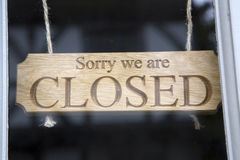 Closed Sign on Shop Door. Closeup of Closed Sign on Shop Door Stock Photos