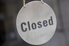 Closed Sign on Shop Door Royalty Free Stock Photos
