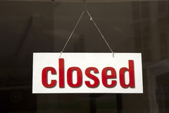 Closed Sign. On Shop Window Stock Photography