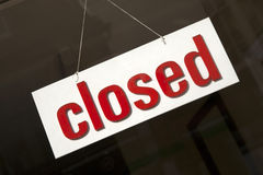 Closed Sign. On Shop Window Royalty Free Stock Photo
