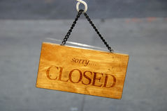 The Closed sign for the store. On the door Stock Images