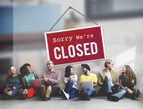 Closed Signage Marketing Shop Concept stock image
