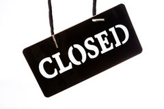 Closed signboard on white background Stock Images