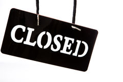 Closed signboard on white background Royalty Free Stock Images