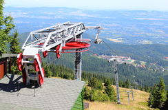Closed ski lift in the Polish mountains Stock Images