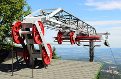 Closed ski lift in the Polish mountains Stock Photography