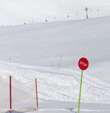 Closed ski slope with stop sign Royalty Free Stock Photo