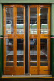Closed sliding door of classic tram in Milan Stock Photo