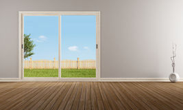 Closed sliding window in a empty room. Empty modern living room with closed sliding window - rendering - the image on background is a my rendering composition Royalty Free Stock Photos