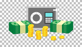 Closed small safe box and stacks of gold coins and stacks of dollar cash. Vector illustration in flat design on isolated royalty free illustration
