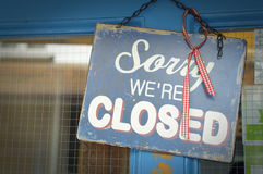 We are closed. Sorry we are closed notice on the door shop in Devon, UK Stock Image