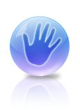 The Closed space.The Request about help. The Hand in turn blue the glass transparent ball.It Is Insulated on white background Stock Image