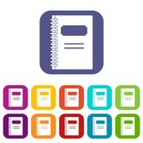 Closed spiral notebook icons set flat Royalty Free Stock Photos