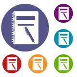 Closed spiral notebook and pen icons set Stock Images