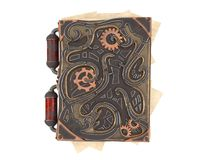 Closed steampunk book with iron insets on isolated white background .3d illustration Stock Photo