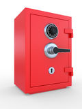 Closed steel bank safe over white Stock Photography