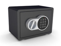 Closed steel bank safe over white Royalty Free Stock Image
