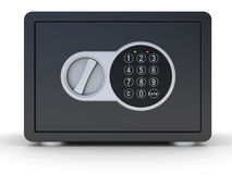Closed steel bank safe over white Stock Photo