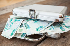 Closed steel case with Russian rubles inside Stock Photo