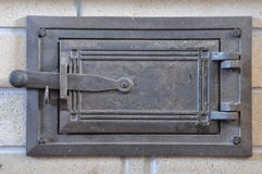 Closed steel furnace doors Royalty Free Stock Images