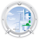 Closed steel porthole. Overlooking the city of the future. Vector Royalty Free Stock Photo
