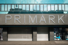 The closed store front of a Primark shop. Berlin, Germany - February 19, 2017: The closed store front of a Primark shop in  Berlin. Primark   is an international Royalty Free Stock Photography