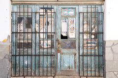 Closed store. KASSANDRINO,GREECE-JULY 18 2014:A closed down shop in a small Greek village.Many stores have closed due to the economic state of the Euro zone Royalty Free Stock Photo