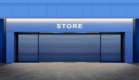 Closed store. Modern empty store with roller shutter doors on street at night time Royalty Free Stock Photos