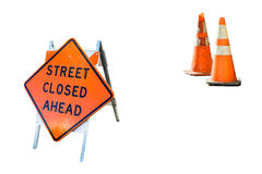 Closed street ahead. Street closed sign warning traffic not to proceed stock photo