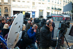 Journalists around the Bataclan- Shootings 2015 Stock Photography