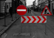 Closed Street. Do not enter and under construction traffic signs on a city street Stock Image