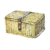 Closed suitcase with leather strap, wattled from reeds, dry water hyacinth. royalty free illustration