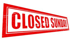 Closed sunday. Stamp with text closed sunday inside,  illustration Royalty Free Stock Image