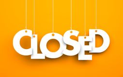 Closed. Text on the string Stock Photo