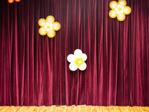 Closed theater red curtains Royalty Free Stock Photos