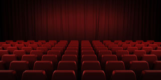 Closed theater red curtains and seats. 3d. Royalty Free Stock Photography