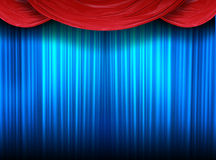 Closed theater stage. Blue curtain of a classical theater Stock Photos