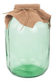Closed three-liter glass jar. On white background Stock Photo