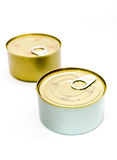 Closed tin can with open key, selective focus Stock Photography