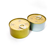 Closed tin can with open key Royalty Free Stock Photos