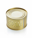 Closed tin can with SPAM over white Royalty Free Stock Image